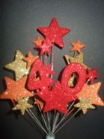 Number age 40th birthday cake topper decoration in shades of fire - free postage